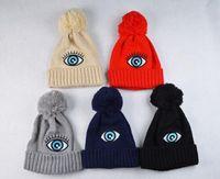 baggy eyes - New Brand Fashion Women Ladies Unisex Winter wool Knit Winter Hat Beanie Baggy Warm Cap plush Big eye winter hats for women H08
