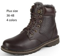 full grain leather - Winter Boots Full Grain Leather Men Martin Snow Boots New Plus Size Winter Thick Warm High Top Genuine Leather Man Ankle Boots