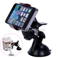Wholesale Universal Windshield Degree Rotating cell phone Car Mount Holder for iPhone Samsung Note4 GPS tablet with retail package DHL Free ship