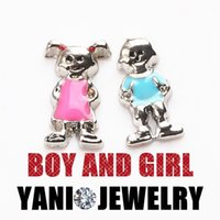 floating charms - Alloy Cartoon Version Floating Charms Enamel Boy and Girl Floating Locket Charms for Glass Locket Necklace Bracelet