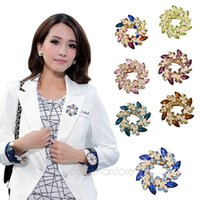 Cheap DHL FREE Fashion Clear Crystal Rhinestone Gold Plated Chinese Redbud Flower Brooch Pin Jewelry Women Brooches for Scarf