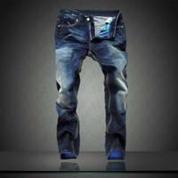 mens designer jeans - famous brands jeans for men new arrival Brand Mens Jeans Straight Bleached Printed Jeans Fashion Designer Ripped biker jeans Plus size