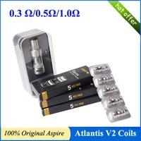 Les bobines de atlantis Prix-100% authentique Aspire Atlantis V2 bobines atlantis 2.0 bobines 0,3 / 0,5 / 1,0 ohm option ajustement atlantis atomiseur bobines atlantis