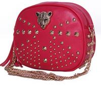 Wholesale 2015 Selling discount new summer Korean fashion casual Shoulder Bag Handbag bag chain small leopard head rivet
