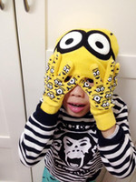 baby winter hats and mittens - 2016 minions and spiderman caps and gloves set suit baby kids hats and mittens children cartoon accessories sets