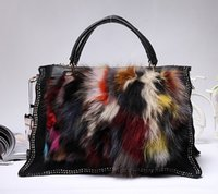bamboo fund - Color matching of new fund of autumn winters is rabbit hair female bag seven color plush fur bag fox fur shoulder aslant female bag