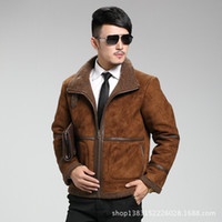 beige motorcycle jacket - Fall Winter New Thicker Fur Leather Men Large Size Jacket American Motorcycle Jacket Suede Fur Collar Short Lamb Fur Jacket Men