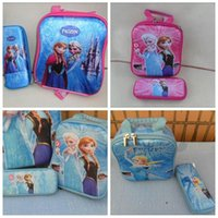 Cheap New Fashion Free shipping Ice and snow 2015 new Cartoon two-piece set 3D Student Lunch bag + pencil case