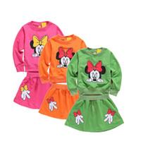 minnie - Girls Cute Long Sleeve Minnie T shirt Tops Skirt Outfits Set Casual Clothes