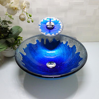 Wholesale Bathroom tempered glass sink handcraft counter top round basin wash basins cloakroom shampoo vessel bowl HX009
