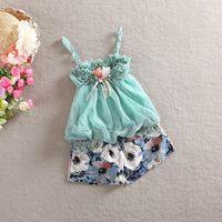 Cheap 2 Pcs Set 2015 Baby Summer Children Girls Skirt Suit Dress Childrens Girl Sling Vest Shirt+Short Pant Dresses Outfits,4 Sets Lot B