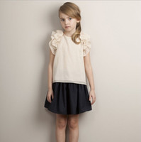 Wholesale Kids Clothing For Girls Tops Blouse Printed T shirts Summer Cotton Sleeveless Embroidery Flowers Princess Party Fashion Tees NT
