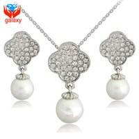 Wholesale Elegant White Pearl Wedding Jewelry Sets for Brides K White Gold Plated Austrian Crystal Drop Earrings Necklace Set for Women ZS065