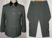 Wholesale WWII GERMAN SUMMER M36 OFFICER COTTON FIELD TUNIC BREECHES MILITARY UNIFORM IN SIZES