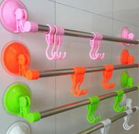 Wholesale New multicolor Single bar towel rack bathroom towel towel hook rack powerful suction multifunctional towel rack