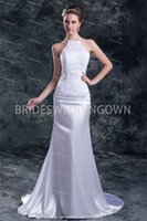 Wholesale Halter Puddle Train Chiffon Corset back Mermaid Wedding Dresses