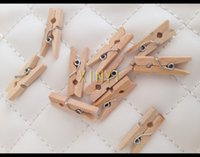 Wholesale wooden natural color Retail Craft Mini mm Wooden Clothes Photo Clips Wood Peg drop shipping