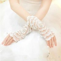 Wholesale 2015 Wrist Length Gloves Lace Sheer Tulle Crystal Lace Ring Finger Bridal Gloves Wedding Bridal Gloves Sequins Fingerless Wedding Gloves