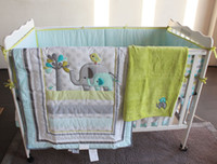 Wholesale 8 Pieces Baby bedding set Embroidery D elephant bird Baby crib bedding set include quilt bed skirt bumper blanket Fitted