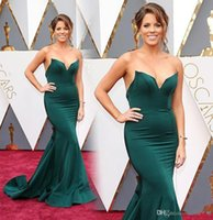 Wholesale Stephanie Bauer Oscar Red Carpet Dresses Hunter Green Sweetheart Mermaid Celebrity Evening Dress Satin Long Prom Gowns
