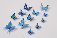 Wholesale home decor wall stickers D PVC butterfly stick on wall decoration set
