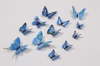 Wholesale world wide home decor wall stickers D PVC butterfly stick on wall decoration set