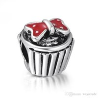 Silver cupcake charm - New Sweet Red Cupcake Enamel Charm Sterling Silver European Charms Beads Fit Snake Chain Bracelet DIY Jewelry
