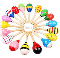 Wholesale 800pcs month baby New Wooden Maraca Orff Rattles Kid Musical Party Favor Child Baby Shaker Toy