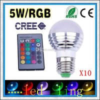 led rgb remote bulb 5w - LED Cree NEW W E27 B22 GU10 E14 RGB Led Lamp Bulb AC85 V CE RoHS Colors Changing with Remote