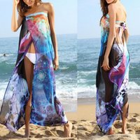 Wholesale HOT women s Sexy beach long dress bikini cover up swim wear one piece skirt dress chiffon printed dress