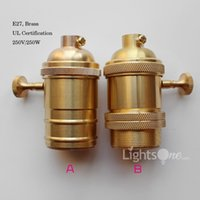 Wholesale Factory Loft Vintage Retro Edison socket holder E27 UL V V knob switch Brass Lamp Base LB