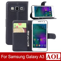 Cheap High Quality Galaxy A3 Leather Case Luxury Wallet Credit Card Stand Skin Cover for Samsung Galaxy A3 Colorful free shipping