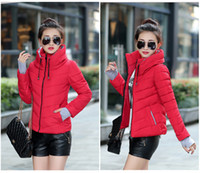 Wholesale 2015 Fashion Winter Thicken down coats Jackets Stand collar zipper Women s Clothing Outerwear Coats Down Parkas slim plus size