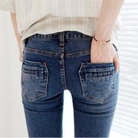 Wholesale New Fashion Women Long Blue Black Jeans Casual Denim Pants Slim Pencil Pants Stretchy Jeans