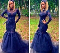 Cheap 2015 Sexy sweet heart backless royal blue tulle lace long sleeve mermaid prom dresses