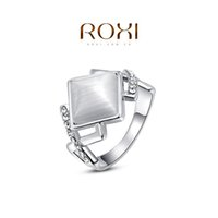 Cheap FG ROXI Chirstmas Gift Platinum Plated Romantic Rhombus Opal Ring Statement Rings Fashion Jewelry For Women Party Wedding