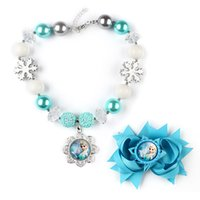 Wholesale Silver Aqua Frozen Elsa Chunky Necklace Set Princess Bubblegum Necklace with Hairbow Jewelry Set For Christmas GIFT