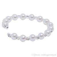 Venta al por mayor barata - orden de la perla de 1 fila que casan los sistemas cristalinos checos de la joyería de la boda de la joyería de la boda de la pulsera del pun ¢ o del grano de las mujeres cristalinas checas