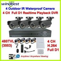 Wholesale 480TVL Camera Surveillance Video System Home CH Full D1 H DVR Kit CCTV Night Weatherproof Security DIY CCTV Camera System
