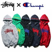 Wholesale Tide brand men s autumn and winter hip hop BBOY Europe STU jacquard hooded sweater round neck sweater jacket