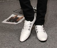 Wholesale Fashion lace up pointed white pu leather dress shoes men s casual business shoes groom wedding shoes yzs168