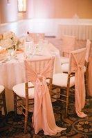 Cheap 2015 Hand Made Good Quality Coral Ruffle Ribbon Bow Chiffon Chair Sash Chair Covers Wedding Decorations Wedding Accessories