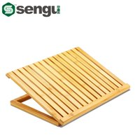 bamboo radiator - Ergonomic Degree Adjustable Angle Notebook Bamboo Laptop Radiator Cooling Pad Stand Holder Mount