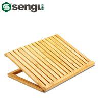 bamboo laptop cooler - Ergonomic Degree Adjustable Angle Notebook Bamboo Laptop Radiator Cooling Pad Stand Holder Mount