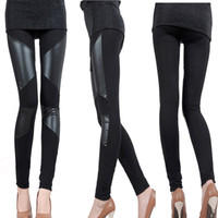 Wholesale Autumn and Winter Sexy Slim Stitching PU Leather Leggings for Women Splicing splice Wide Stretchy Elastic Waist Trousers Pants