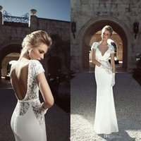 Cheap 2015 Stylish Backless Wedding Dresses Sheer V-Neck Short Sleeve Sheath Floor-Length White Stretch Satin Bridal Gowns
