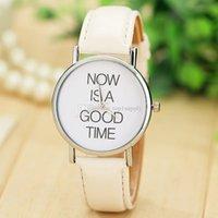Wholesale New Arrival Fashion Leather Strap Watch NOW IS A GOOD TIME Women Ladies Quartz Dress Wrist Watch Men Women Casual Watches