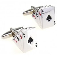 ace jewelry - Fashion Jewelry Tie Clips Cufflinks Aces Cuff Link Pair Retail Promotion promotion lab