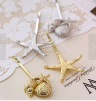 Wholesale Daughter Korean version of the new European and American retro sea shells starfish jewelry hairpin side folder