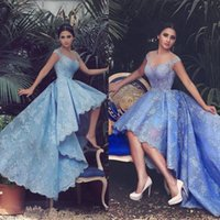 Wholesale Vestido Illusion Sleeveless A Line Lace Prom Evening Dresses Vintage High Low Sheer Neck Backless Prom Dresses Gowns